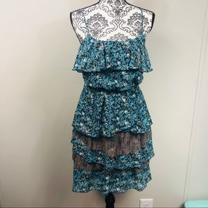Floral print tiered dress with spaghetti straps
